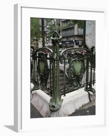 Detail of Art Nouveau Railings at Entrance of Paris Metro--Framed Giclee Print