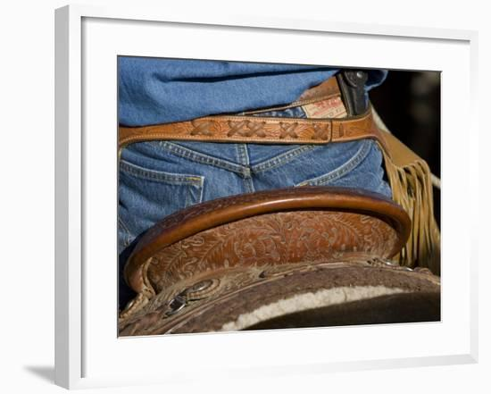 Detail of Back of Cowboy's Saddle, Jeans and Chaps, Sombrero Ranch, Craig, Colorado, USA-Carol Walker-Framed Photographic Print