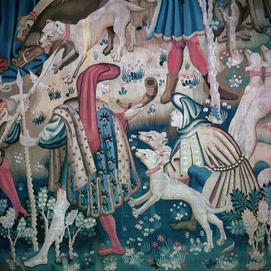 Detail of bear-hunt from the Devonshire Hunting Tapestries, 15th century. Artist: Unknown-Unknown-Giclee Print