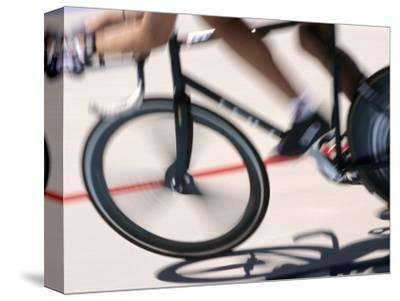 Detail of Blurred Action of Cyclist Competing on the Velodrome