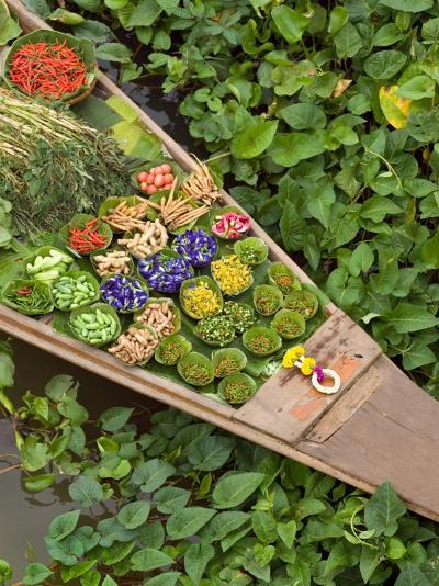 Detail of Boat in Water Lilies, Floating Market, Bangkok, Thailand-Philip Kramer-Photographic Print