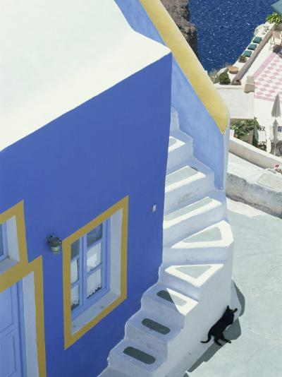 Detail of Brightly Painted House, Oia, Santorini, Cyclades, Greek Islands, Greece, Europe-Lee Frost-Photographic Print