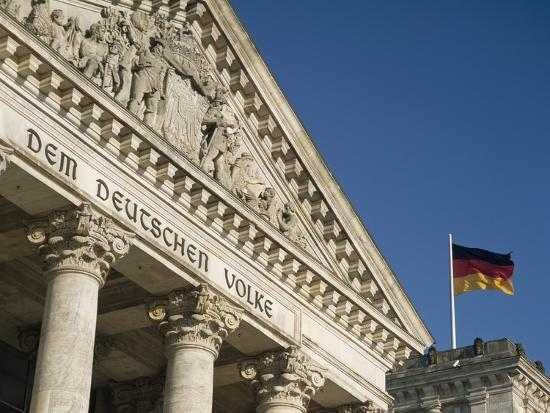 Detail of Bundestag (Reichstag) with German Flag in Front-Design Pics Inc-Photographic Print