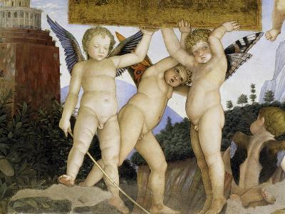 Detail of Camera Degli Sposi: Putti Holding Tablet-Andrea Mantegna-Giclee Print