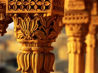 Detail of Carved Sandstone Pillars on Patwon Ki Haveli, Jaisalmer, India-Anthony Plummer-Photographic Print