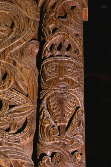 Detail of carving of Stave Church from Gol in Hallingdal, built c1200-Unknown-Giclee Print