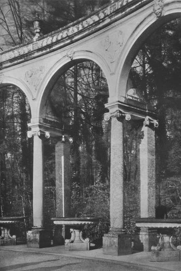 Detail of colonnade and fountains, Temple of Music, Versailles, France, 1924-Unknown-Photographic Print