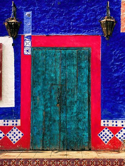 Detail of Colorful Wooden Door and Step, Cabo San Lucas, Mexico-Nancy & Steve Ross-Photographic Print