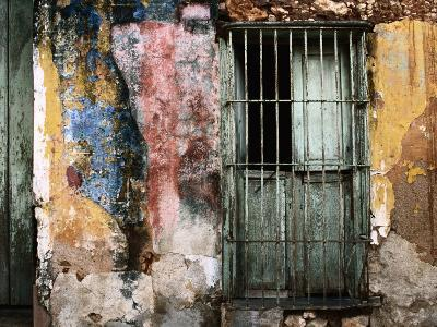 Detail of Colourful Weathered Doorway, Window and Wall-Dallas Stribley-Photographic Print