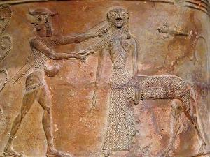 Detail of Cycladic Terracotta Relief of Perseus Killing Medusa