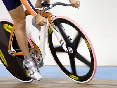 Detail of Cyclist Racing on the Velodrome Track, Athens, Greece-Paul Sutton-Photographic Print