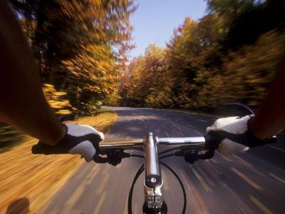 Detail of Cyclist View while Riding on the Roads--Photographic Print