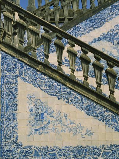 Detail of External Staircase Decorated with Azulejos (Tiles), Algarve, Portugal-Nedra Westwater-Photographic Print
