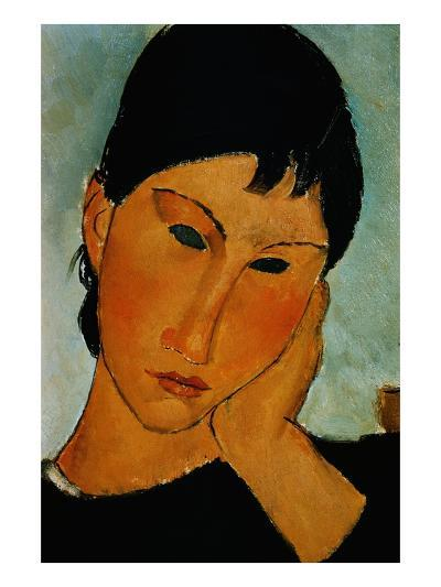 Detail of Female Head from Elvira Resting at a Table-Amedeo Modigliani-Giclee Print