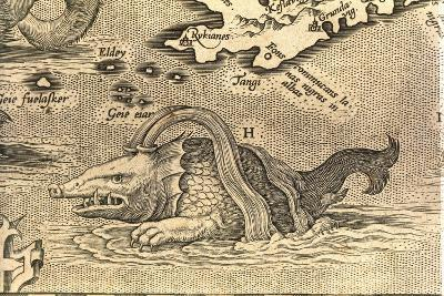 Detail of Geographical Map Depicting Monstrous Sea Creature--Giclee Print