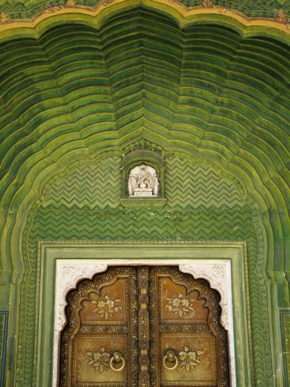 Detail of Green Gate, Pitam Niwas Chowk, City Palace-Kimberley Coole-Photographic Print