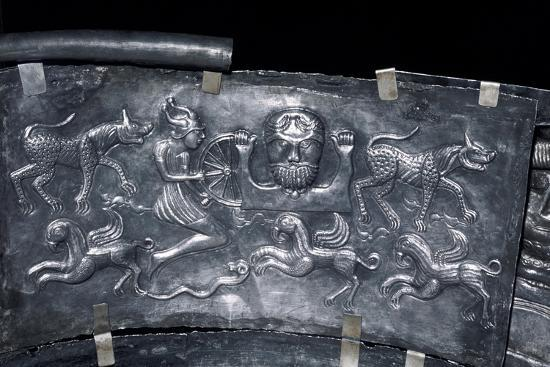 Detail of Gundestrup Cauldron, Celtic God Taranis, Danish, c100 BC. Artist: Unknown-Unknown-Giclee Print
