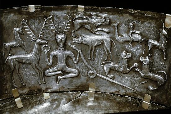 Detail of Gundestrup Cauldron, Celtic horned God Cernunnos, Danish, c100 BC. Artist: Unknown-Unknown-Giclee Print