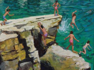 Detail of Jumping into the Sea, Plates, Skiathos, 2015-Andrew Macara-Giclee Print