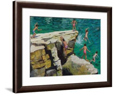 Detail of Jumping into the Sea, Plates, Skiathos, 2015-Andrew Macara-Framed Giclee Print