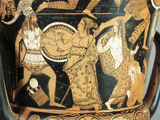 Detail of Krater Depicting Menelaus Faced by Aphrodite as He Reaches Helen--Giclee Print