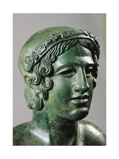 Detail of Lid of a Cinerary Urn with a Portrait of a Reclining Young Man, 400/375 B.C., Bronze--Giclee Print