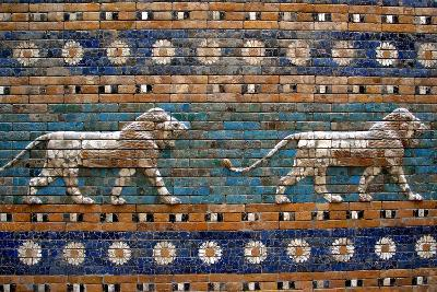 Detail of Lions on Ishtar Gate at Pergamon Museum--Photographic Print