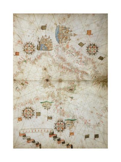 Detail of Map of Mediterranean Sea, from Nautical Atlas, 1571-Joan Martines-Giclee Print
