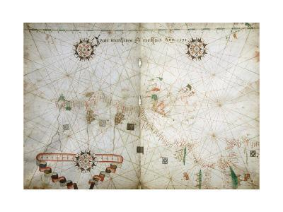 Detail of Map of North East Atlantic, from Nautical Atlas, 1571-Joan Martines-Giclee Print