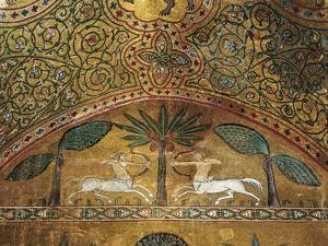 Detail of Mosaics in King Roger's Room, Palace of Normans or Royal Palace of Palermo, Sicily, Italy