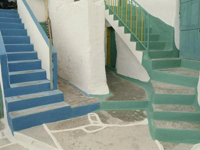 Detail of Painted Blue and Green Steps on Ios, Cyclades Islands, Greek Islands, Greece, Europe-Woolfitt Adam-Photographic Print