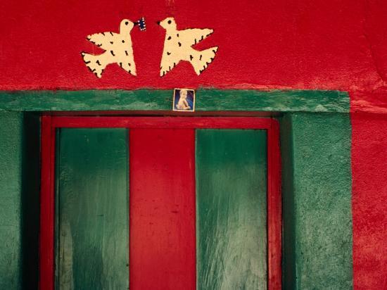 Detail of Painted House Facade, La Venta Del Sur, Honduras-Jeffrey Becom-Photographic Print
