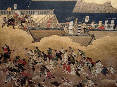 Detail of Part of a Folding Screen Which Depicts the Siege of Osaka Castle (1615)--Giclee Print
