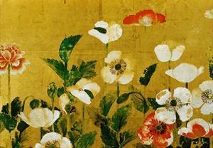 Detail of Poppies Edo Period Screen