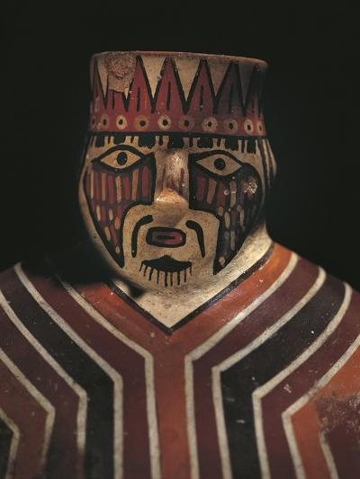 Detail of Pre-Inca Vessel in Shape of Man Wearing Striped Poncho, 200-700--Giclee Print