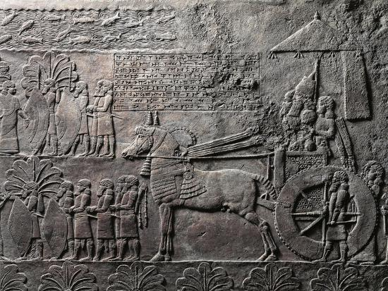 Detail of Relief Depicting Triumph of King Ashurbanipal, from Ancient Nineveh, Iraq--Giclee Print