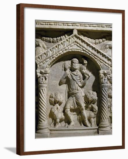 Detail of Relief from Sarcophagus of Good Shepherd, from Manastirne, Croatia--Framed Giclee Print