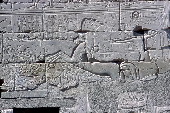 Detail of relief of Pharaoh in chariot riding down his enemies, Temple of Amun, Karnak, c1400 BC-Unknown-Giclee Print