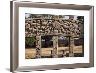 Detail of Reliefs of the East Gate of the Stupa I in Sanchi--Framed Photographic Print