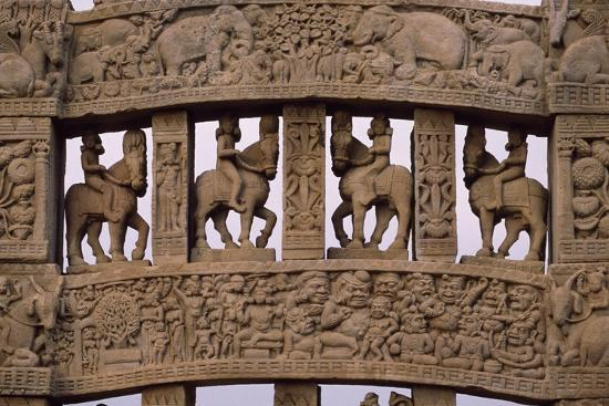 Detail of Reliefs of the North Gate of the Stupa I in Sanchi--Photographic Print