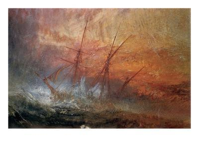 Detail of Sailing Ship from The Slave Ship-J^ M^ W^ Turner-Giclee Print