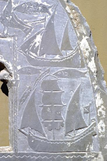 Detail of ships on carved lunette (window) from Greek Byzantine church, 9th-10th Century-Unknown-Giclee Print