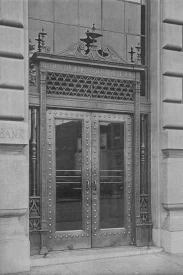 Detail of side entrance door, Phoenix National Bank, 1924-Unknown-Photographic Print
