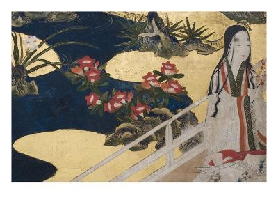 Detail of Spring in the Palace, Six-Fold Screen from 'The Tale of Genji', C.1650-Japanese-Giclee Print