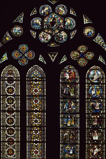 Detail of Stained-Glass Windows Commemorating Apparitions--Photographic Print