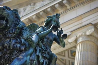 Detail of Statue of a Piper Riding a Lion outside the Konzerthaus-Jon Hicks-Photographic Print
