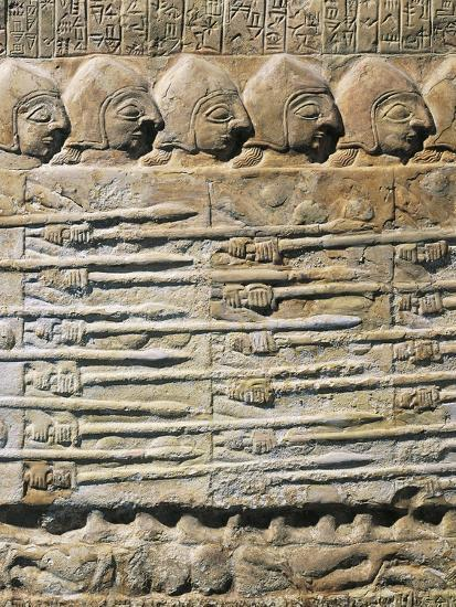 Detail of Stele of Vultures Depicting Troops of King Eannatum Conquering Umma--Giclee Print