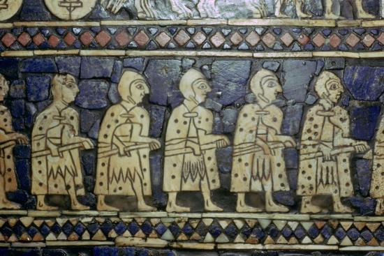 Detail of Sumerian soldiers from the Royal Standard of Ur, about 2600-2400 BC. Artist: Unknown-Unknown-Giclee Print