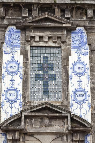 Detail of the Azulejos Adorned Front Facade of the Church of Saint Lldefonso Porto Portugal-Julian Castle-Photo