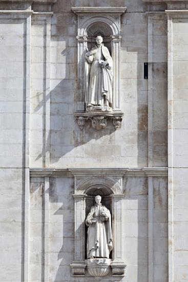 Detail of the Classical and Baroque Style Front Facade of Cathedral Se Nova Coimbra Portugal-Julian Castle-Photo